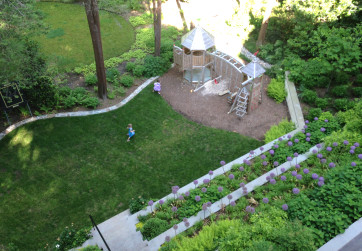 Bird's eye view of lawn and children's play area