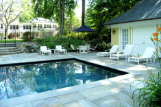 Newly renovated pool with new pool house and decking