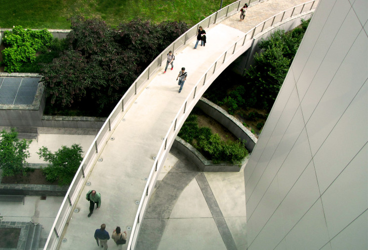 Bird's eye view of entrance bridge