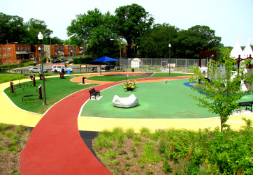 Overview of playground highlighting surface design