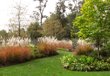 Grasses billow in the breeze and entice users to explore the garden path