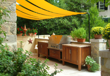 Close up of outdoor kitchen on upper terrace
