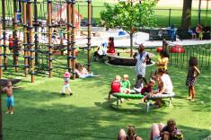 View across park toward sand play area