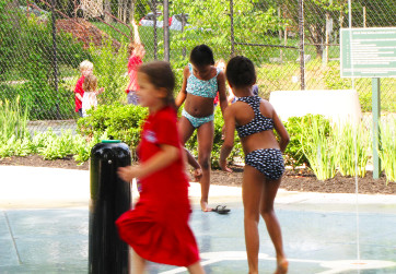 Girls playing in splash fountain