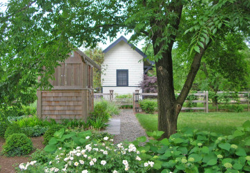 View along path toward train depot guest house and outdoor shower
