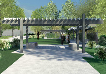 Complementary metal arbor in project pocket park