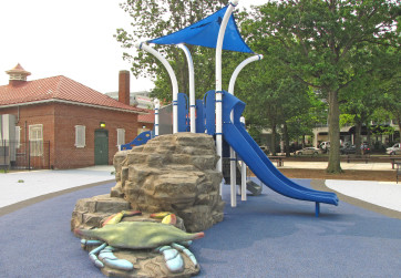 Crabs, whales and other sea creatures are integrated into play equipment
