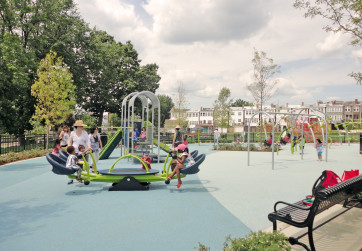 Play structures and equipment accommodate various age groups