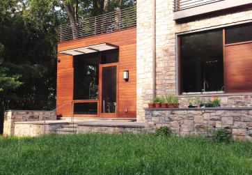 A no-mow grass is one of the many sustainable design features of this energy efficient home